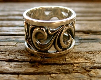 Wide Wedding Ring in Sterling Silver with Oxidized Scrolls and Glossy Finish Size 7