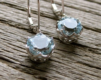 Aquamarine Dangle Earrings in 14K White Gold in Custom Made Baskets with Scrolls