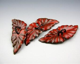 Enameled Ivy Leaf/ Orient Red enamel / Made to order