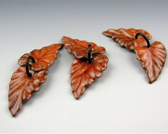 Enameled Ivy Leaf  / Autumn Enamel / Made to order