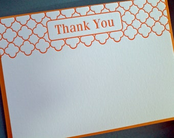 Modern Letterpress Thank You Notes in Orange - set of 5