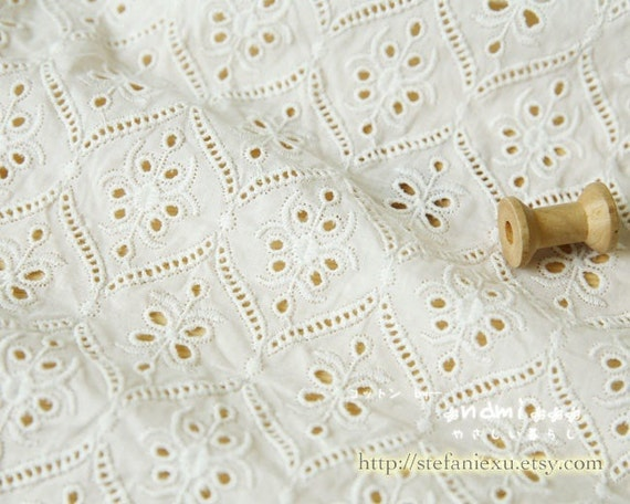 White eyelet embroidery chic rhombic classic floral pattern