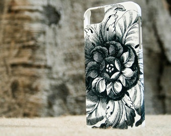 iPhone 8 Case Black and White iPhone SE Case, Chic Flower iPhone 7 Cover, iPhone 6S Plus Case