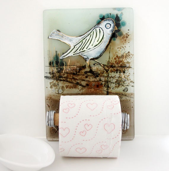 Toilet paper holder bathroom decor white bird in ivory brown