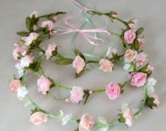 Flower girl halo pink Bridal Floral Crown Hair Wreath Mint Green headwreath wedding accessories headpiece bridesmaid hair garland circlet