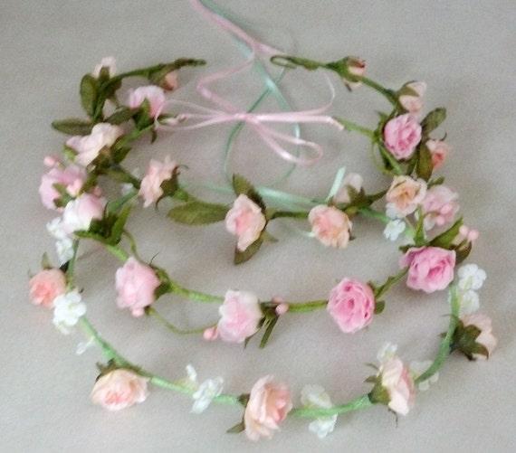 Flower Girl Halo Pink Bridal Floral Crown Hair Wreath Mint Green