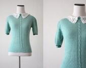 vintage lace peter pan collar knit blouse