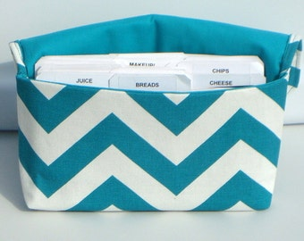 40% Off Coupon Holder Organizer Cash Budget Organizer - Attaches to your Shopping Cart - Zig Zag Chevron -Turquoise and White
