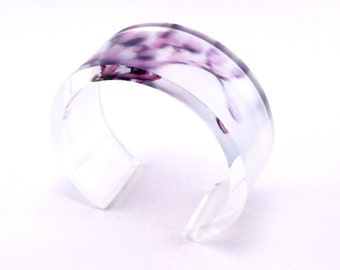 Purple Bold Blossom Bangle 6x30 Acrylic Cuff, Perspex Jewelry