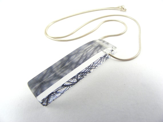 Forest Perspex Necklace and Sterling Silver Chain -Special Offer- Acrylic Pendant