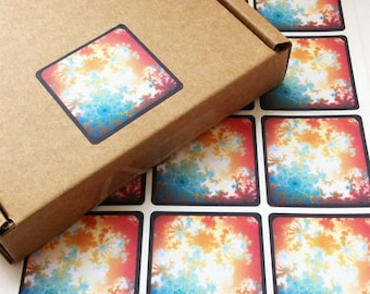 Flower Fractal Stickers, Square Packaging Labels, Envelope Seals, Psychedelic Patterns