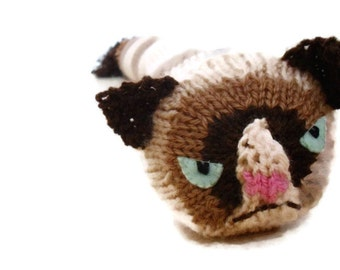 Grumpy Cat - Knitted Door Draft Stopper - Made to order