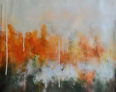 Original Abstract Painting Neutral AUtumn Colors Rust and Green 20x20""