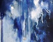 Rain Drops Original abstract painting Modern Art Dark Blue, White  16x20""