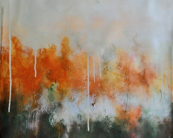 """Original Abstract Painting Neutral AUtumn Colors Rust and Green 20x20"""""""