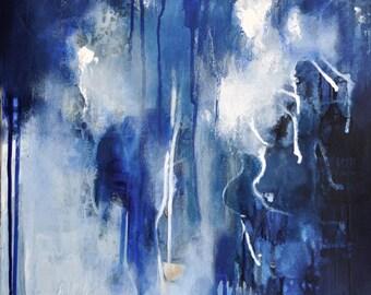 "Rain Drops Original abstract painting Modern Art Dark Blue, White  16x20"""