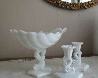 Vintage Milk Glass 40s SHELL & DOLPHIN Pedestal Bowl and Candle Holder Set WESTMORELAND Nautical