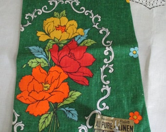 Vintage Kitchen Towel Linen PARISIAN PRINTS Floral Dish Tea Green, Orange Yellow Unused with Sticker