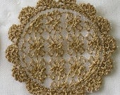 Sepia Brown Lace Doily - Embroidered Lace Scale Miniature - Shabby Chic French Cottage