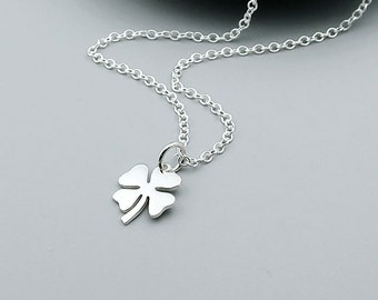 Sterling Silver Clover Necklace, Lucky Clover - Good Luck Jewelry, Shamrock Necklace, Four Leaf Clover