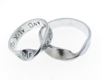 Sterling Silver Twist Infinity Ring Set Personalized His and Her Mobius Band Hand Stamped Names Dates Vows Custom Engraved Artisan Handmade