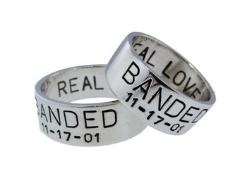 custom silver duck band wedding ring set his hers rings handstamped date names banded handcrafted rings