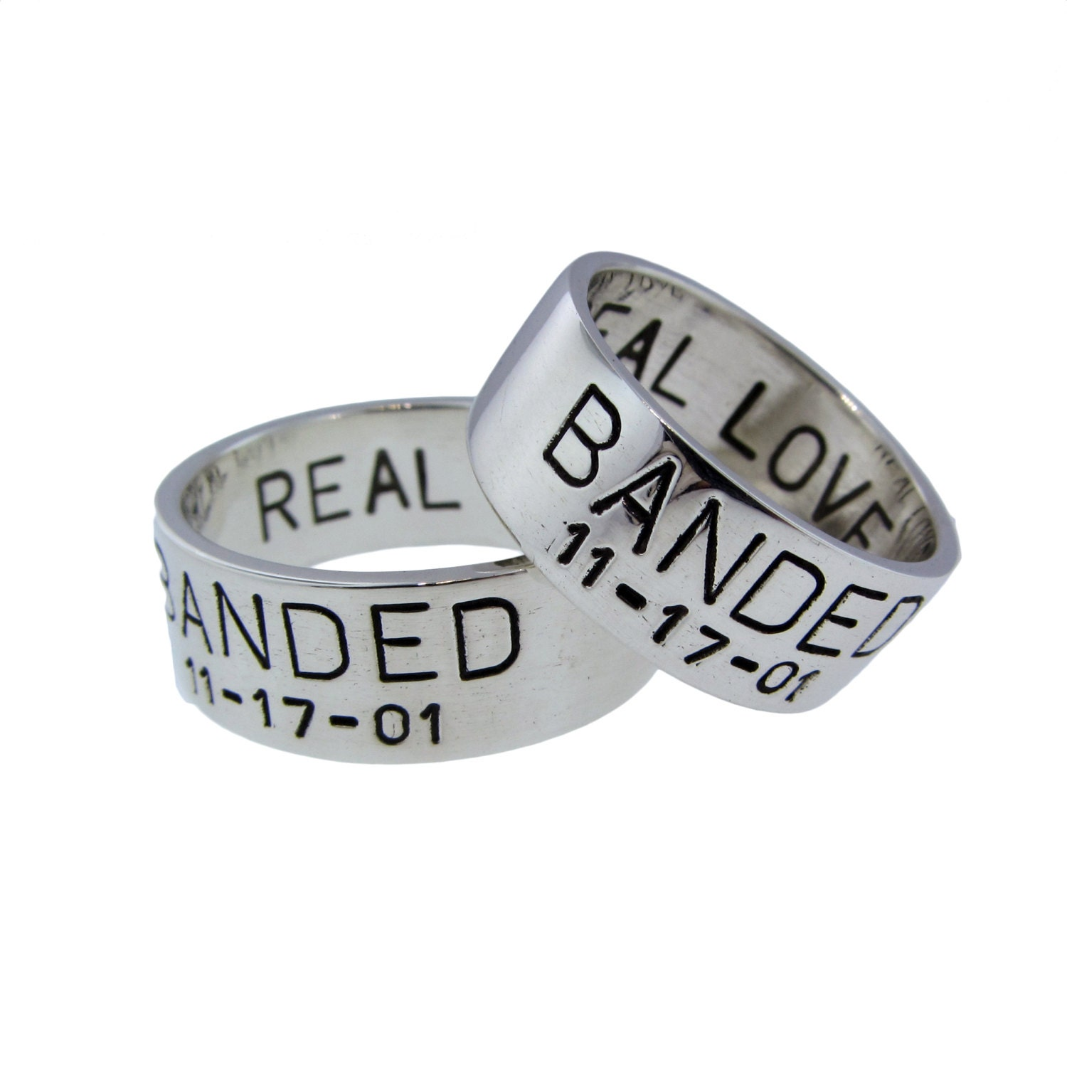 custom silver duck band wedding ring set his hers rings