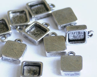 Square Bezel setting - antique silver color, 9mm (6mm int), qty 20+.  For  charm bracelets, earrings, initial charms. resin Jewelry supplies