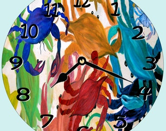 Crab Party wall clock from my art