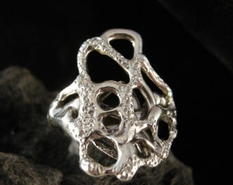 RING,FREE-FORM, Flowing Lines in Sterling Silver,Ooak, Stippled Texture, size 6 1/2. Cast using Lost Wax Method, Polished to a High Shine