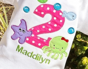 Under the Sea Birthday, Girls water birthday, Under the Sea shirt, Octopus Shirt,