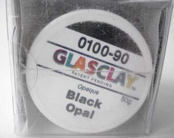 GlasClay Opaque Black Opal 50 gram jar, NIB glass jewelry making supply, glass art supplies