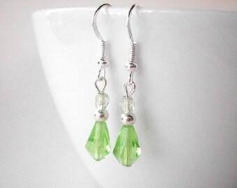 Peridot crystal earrings, bridesmaid earrings lime green crystal earrings, dangle earrings with silver plated ear hooks