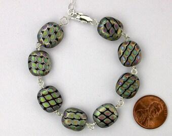 Black Czech Spot Lentil Bracelet