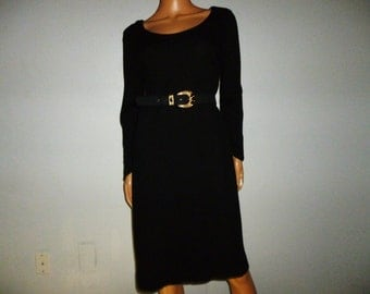 Vintage 1950's - Black - Wool - Scoop Neck - Pin Up - Bombshell - Wiggle - Shift -Dress -bust size 38""