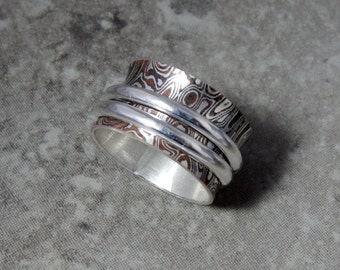 Mokume Gane Spinner/Worry Ring