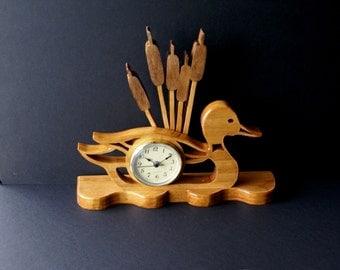 Mallard Duck & Cattails Wood MantelScroll Saw Clock