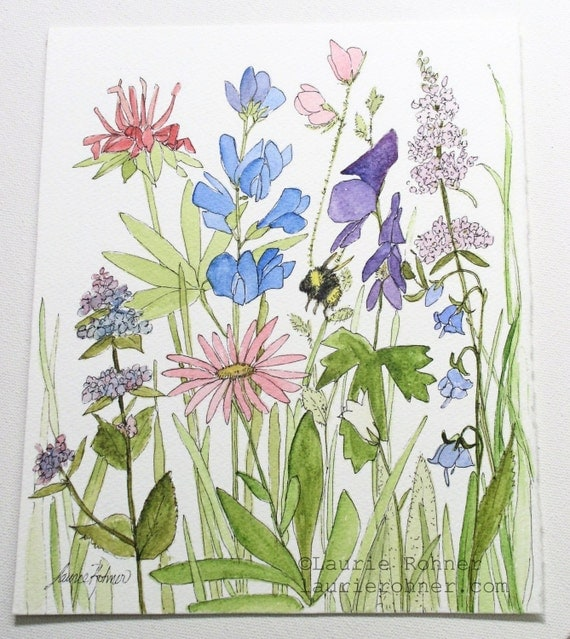 Wildflower Nature Art Watercolor Painting Botanical Garden Flower Illustration Herbs Bumblebee