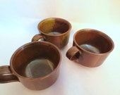Mid century modern Earthy Brown- soup Chili mugs