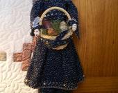 "Handmade folk art primitive  22"" doll-Primitive Painted Wooden  Eggs and Polka Dots"