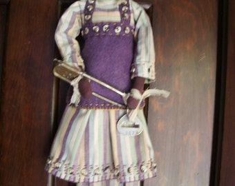 "Handmade Folk Art  Primitive 22"" Laundry Tag Libby-Vintage laundry Key Tag"