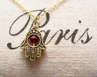 Red Hamsa Necklace.