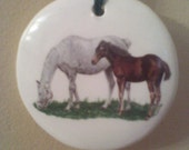 Mare and foul grazing Hanging Round Disc Ceramic Ornament 3 inch Made in USA