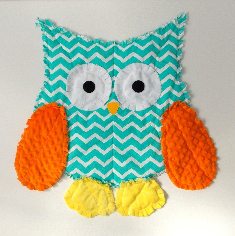 Rag Quilt Owl Pattern : Owl Blanket Rag Quilt Owl Decor Baby Shower Gift