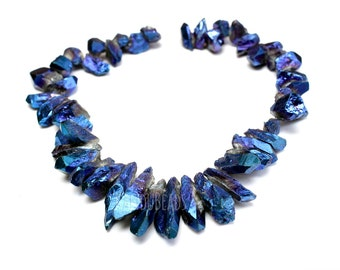 SALE 20% Blue Amethyst Crystal Point Beads , AB Mystic Titanium Coated  25-35mm Top Drilled 15 inch
