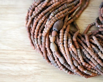 African Ceramic Handmade Beads 6-8 mm Terracotta sand brown mix 30 inch strand