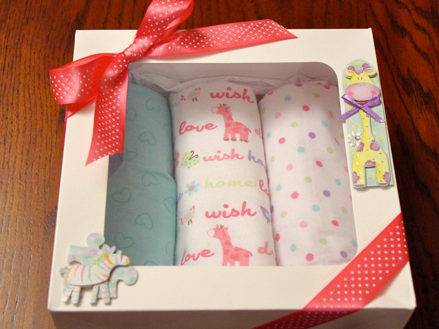 Baby Blanket Gift Box : Flannel receiving blankets baby girl gift box by