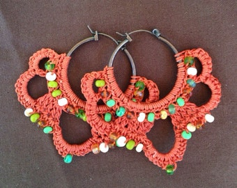 Funky Bohemian Shades of Autumn Hoop Earrings, autumn hoops, crochet earrings, crochet hoops, fall jewelry, orange earrings