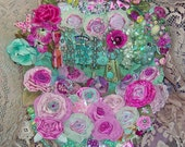 Aqua Jewel and Rose Wedding Basket - Large Bejewelled and Ornate Work Of Art