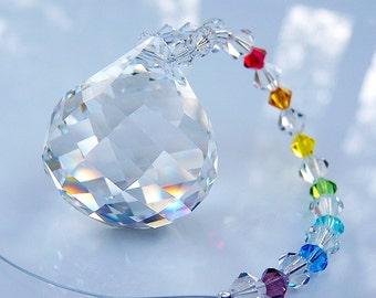Swarovski Crystal Suncatcher 30mm Clear MOZART TWIST Ball with Chakra Colors Strand Lilli Heart Designs
